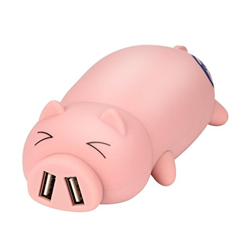 Glumes Portable Power Bank for Iphones, Pretty Cute Pig Design with Dual USB Ports