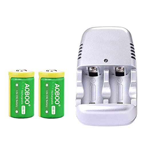 AOBOO CR2 3V Rechargeable Battery And Charger Set