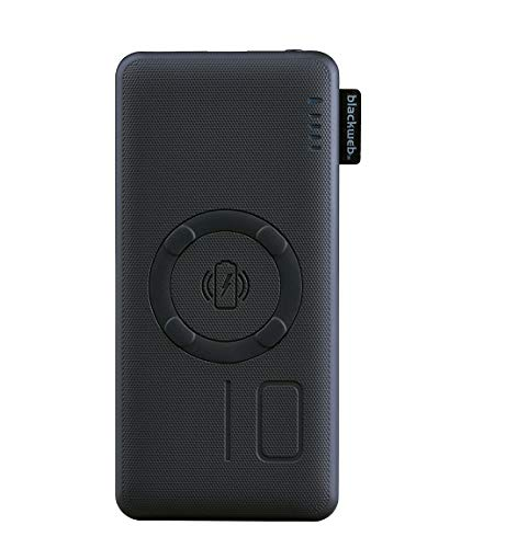 Blackweb Fast-Charge Wireless Portable Battery, 10,000 mAh with Quick Charge Adapter