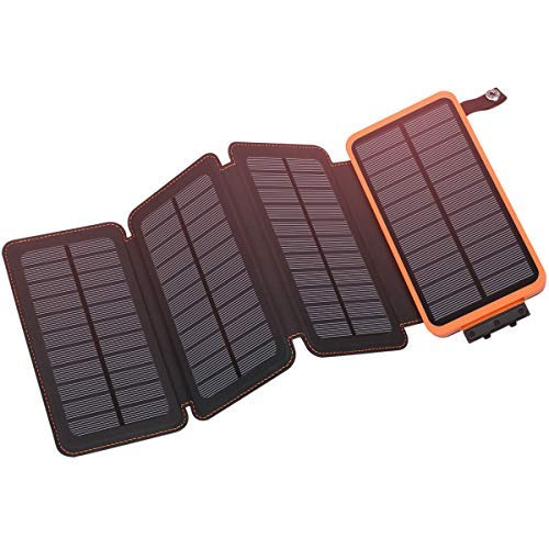 Hiluckey Outdoor Portable Power Bank with 4 Solar Panels