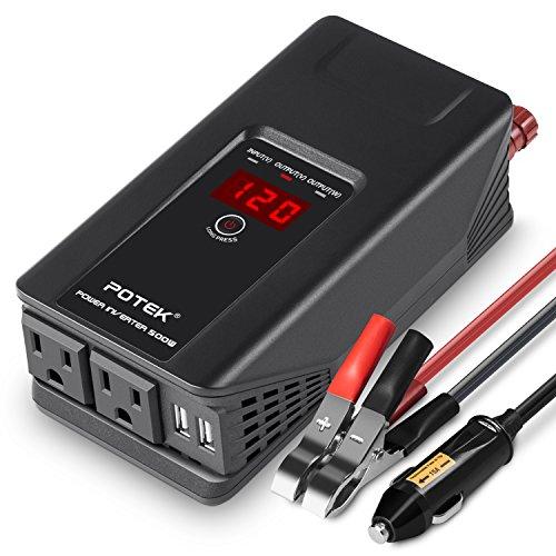 POTEK 500W Power Inverter DC 12 V to 110V AC