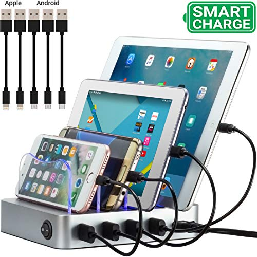 Simicore 4-Port USB Charging Station with 5 Short Charging Cables for Apple & Android Phones,...