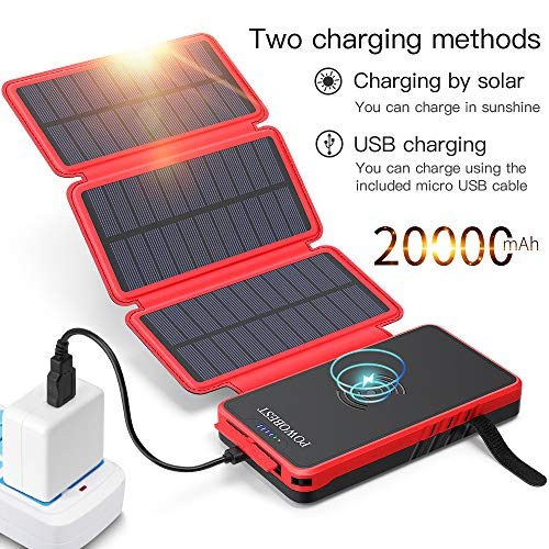 POWOBEST Solar Power Bank 20000mAh,Solar Charger