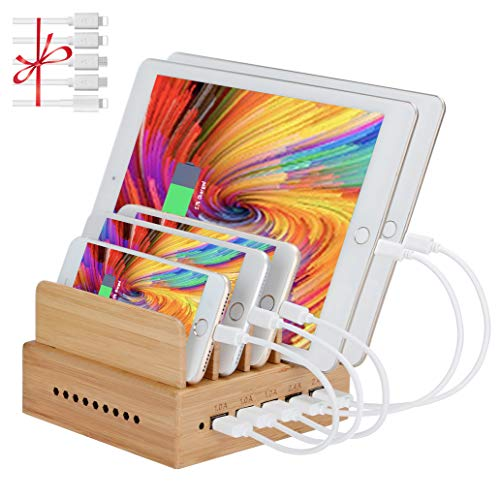 InkoTimes Bamboo Charging Station with 5-Port USB Charger - Fast USB Charging Station for Multiple...