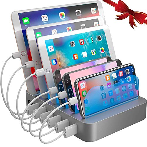 Hercules Tuff Charging Station Organizer for Multiple Devices - 6 Short Mixed Cables Included for...