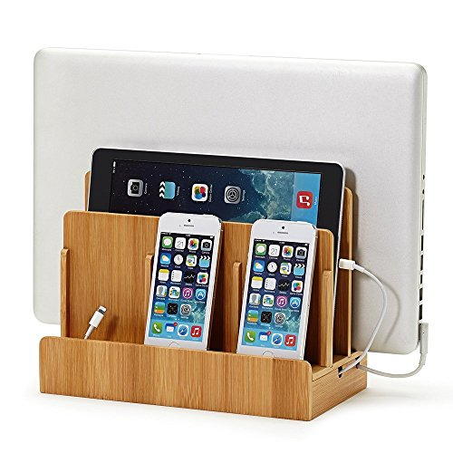 Great Useful Stuff Eco Bamboo Multi-Device Charging Station Dock & Organizer - Multiple Finishes...