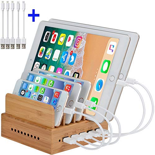InkoTimes Bamboo Charging Station Organizer