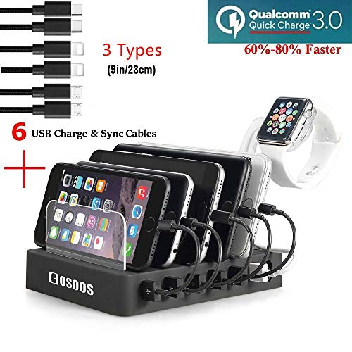 COSOOS Fastest Charging Station with Quick Charge QC 3.0, 6 Phone Charger Cables(3 Type),lWatch...