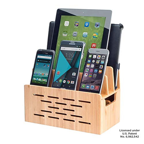 Bamboo Charging Station w/Cutout for Bluetooth Portable Wireless Speaker and Docking Stand use...