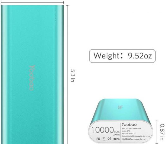 Yoobao 10000mAh weight