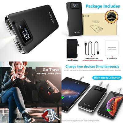 GETIHU Power Bank LED Display 10000mAh 7