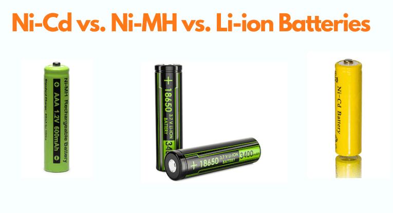 Ni-Cd vs. Ni-MH vs. Li-ion